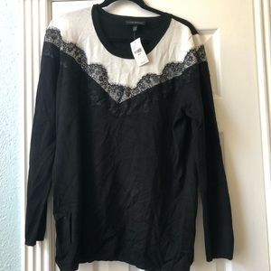Lane Bryant Black and White Lace Sweater